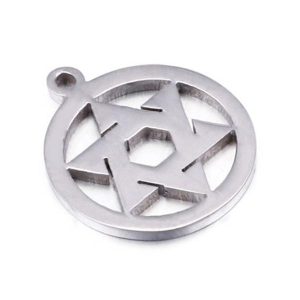 Disc Cutting Star Pattern 316L Stainless Steel Necklace Charm