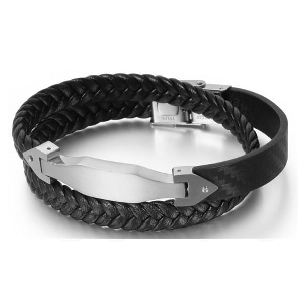 316L Stainless Steel Engraved Leather Bracelet for Men