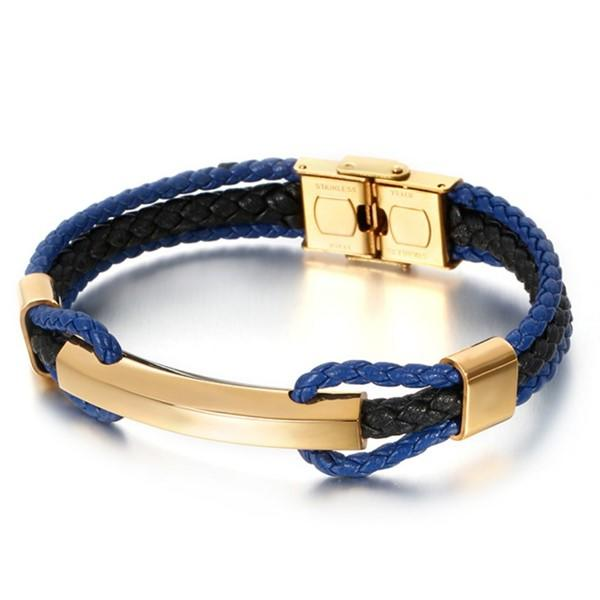 Blue and Black Genuine Leather Bracelets Bangle for Men