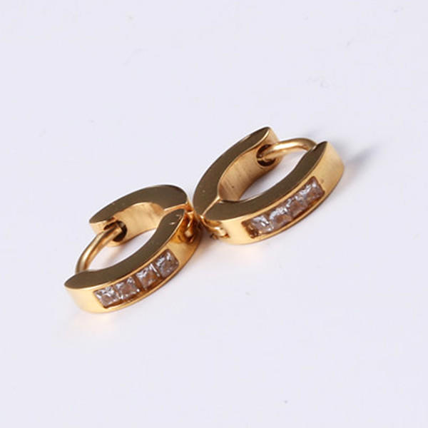 316L Surgical Stainless Steel Gemstone Zirconia Inlay Earrings for Women Men