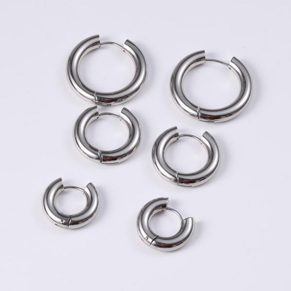 Surgical Stainless Steel Men's Women Round O Shape Hoop Earrings