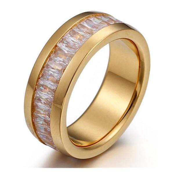 Stainless Steel Crystal Rhinestone Stone Unisex Men's Women Ring