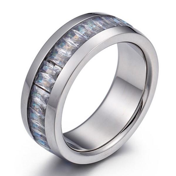 Stainless Steel Crystal Rhinestone Stone Unisex Men's Women Ring