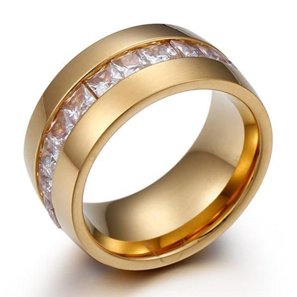 Big Zircon Stone Inlay 18k Gold Plating Stainless Steel Unisex Women Men Ring
