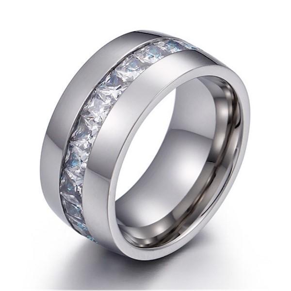 Big Zircon Stone Inlay 18k Gold Plating Stainless Steel Unisex Women Men Ring