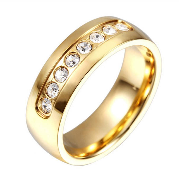 Custom 18k Gold Surgical Stainless Steel Women Zircon Stone Ring