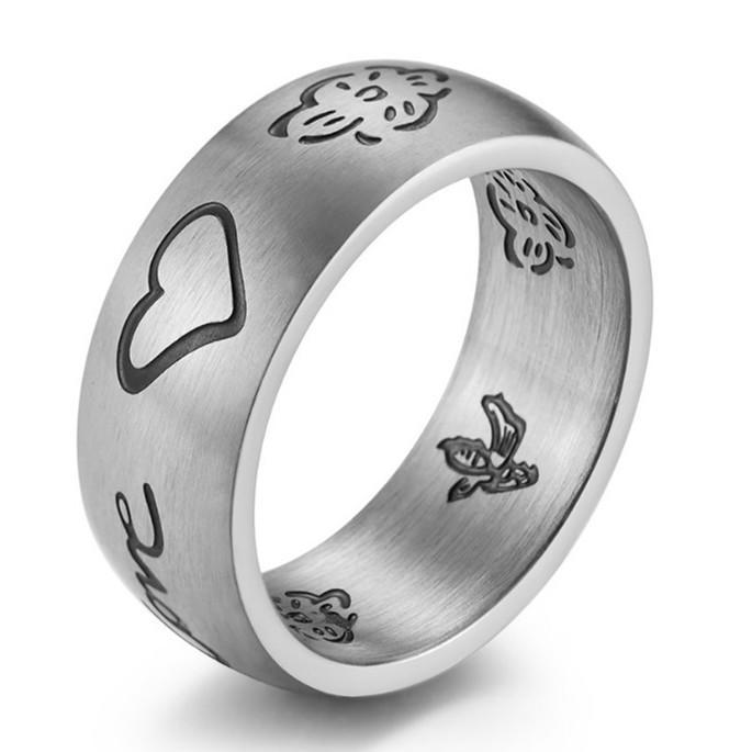 Engrave Black Logo Inner and Outside Stainless Steel Men's Women Ring