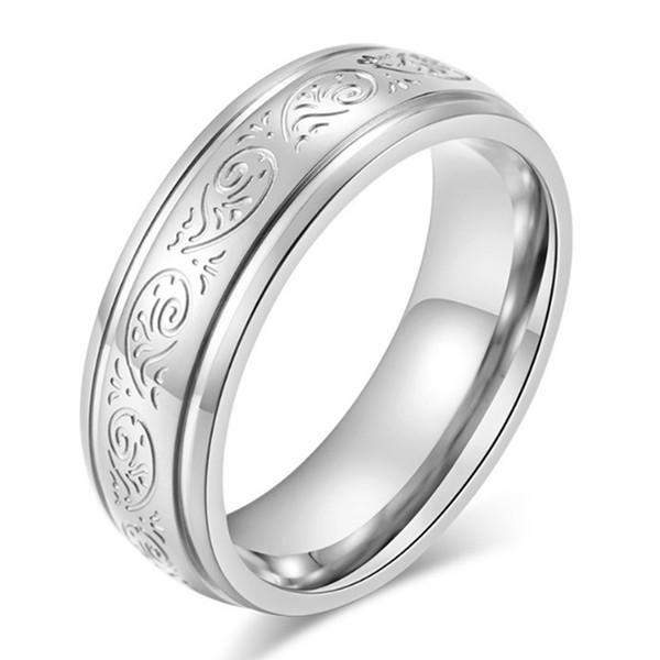 JaneE square edges stainless steel wedding bands comfortable for men