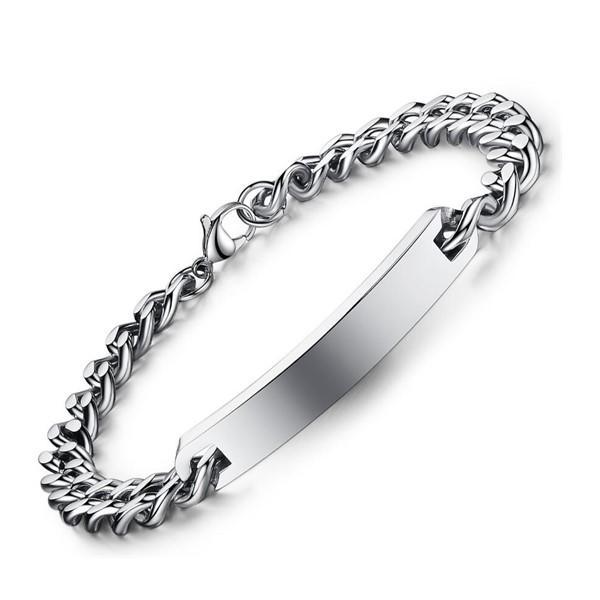 Stainless Steel Men's Girl ID Engraved Bracelet