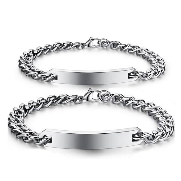 Stainless Steel Men's Girl ID Engraved Bracelet