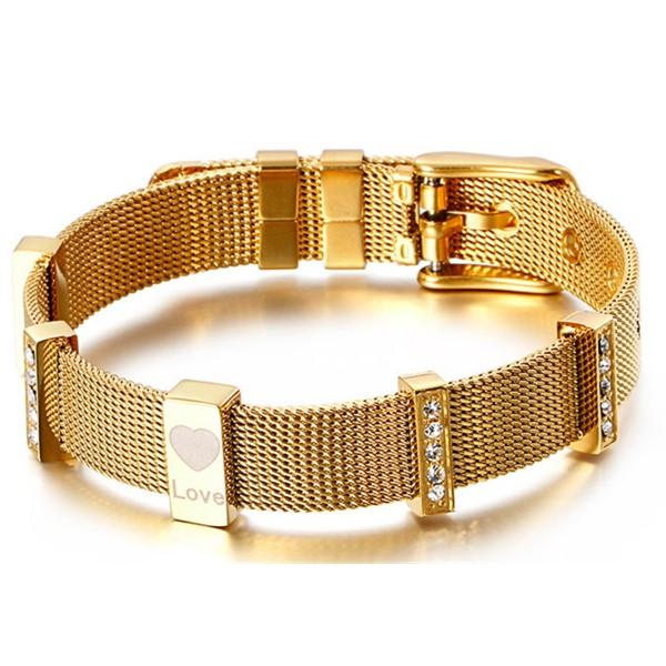Stainless Steel Net Bangle with Beads for Women Men