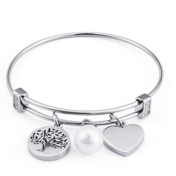 Customized Stainless Steel Charms Bangle for Women Men