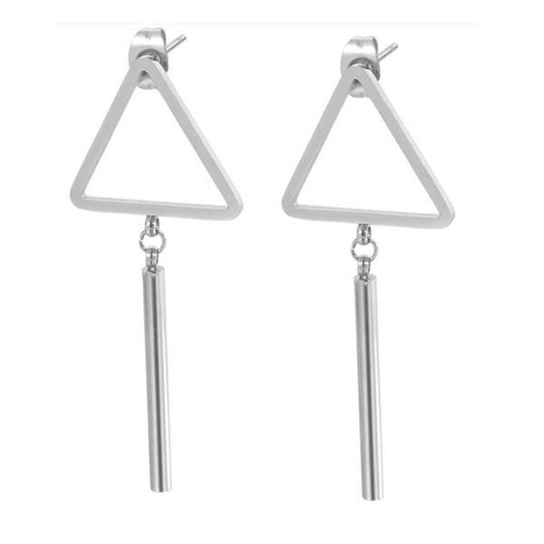 Women Jewelry Geometric Triangle Charm Surgical Stainless Steel Earrings