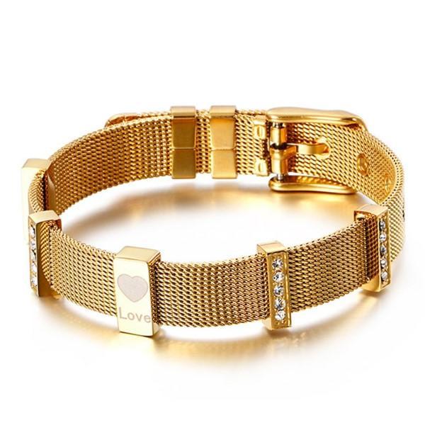 Stainless Steel Net Beaded Bracelets Bangle for Men Women