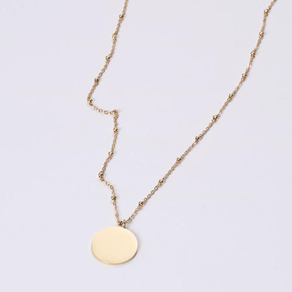 Stainless Steel Ball Chain ID Engraved Coin Chain Necklace for Women