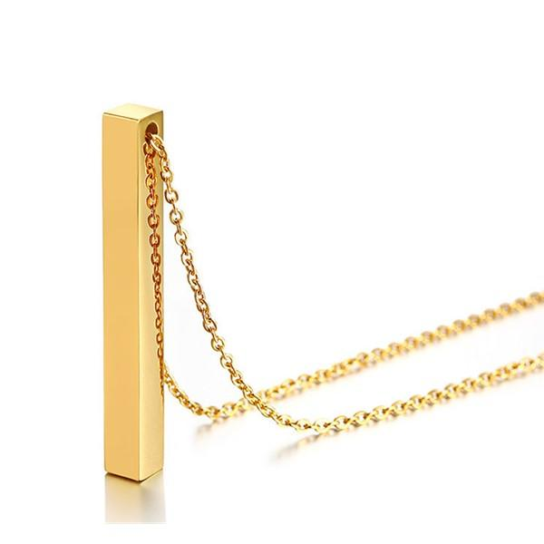 Surgical Stainless Steel Vertical Rectangular Personalized Engraved Bar Name Necklace