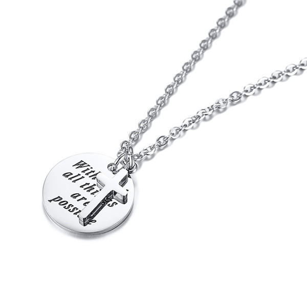 Personalized 316L Stainless Steel Custom Name Letter Plain Charms Necklace for Men Women