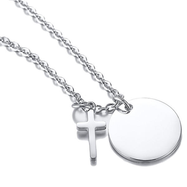 JaneE letter engraved mens stainless steel necklace different dimension for gift