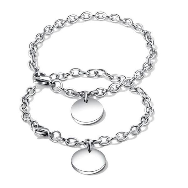 Surgical Stainless Steel Star Coin Heart Charms Pendant Chain Bracelet