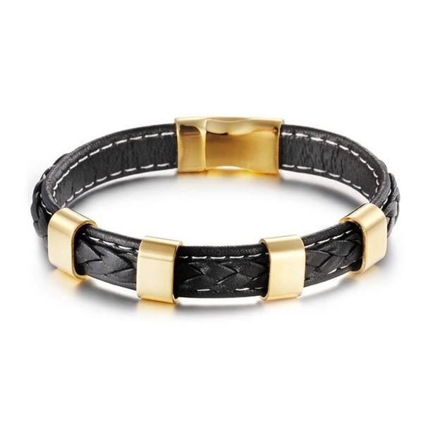 New Trendy Leather 316L Stainless Steel Magnetic Clasp Bracelets for Men