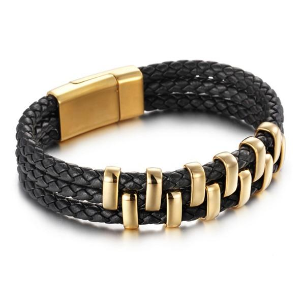 Stainless Steel Magnetic Clasp Leather Bracelets for Men