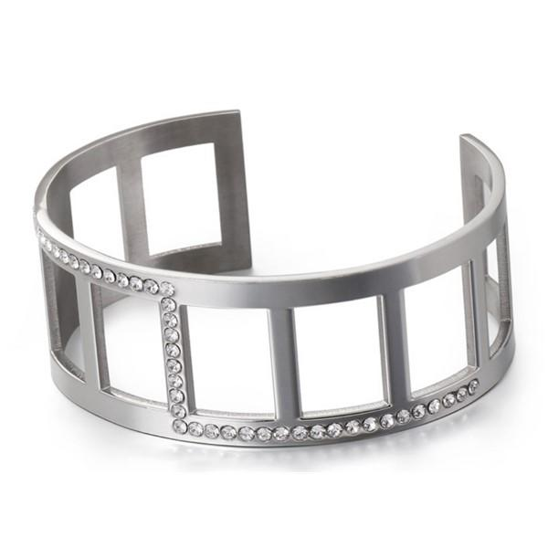 Gemstone Zircon Surgical Stainless Steel Bangle for Women