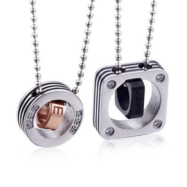 Biker Young Men Girl Matte Surgical Stainless Couple Necklaces Set