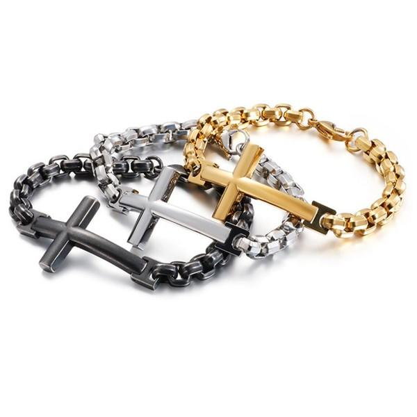 Fashion Jewelry Antique Stainless Steel Pearl Chain Cross Bracelet for Men Women