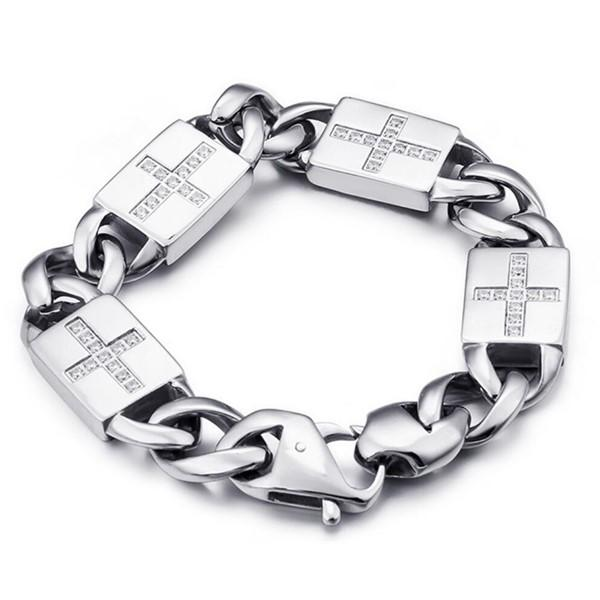 Punk Surgical Stainless Steel Chain Gemstone Bracelet for Men