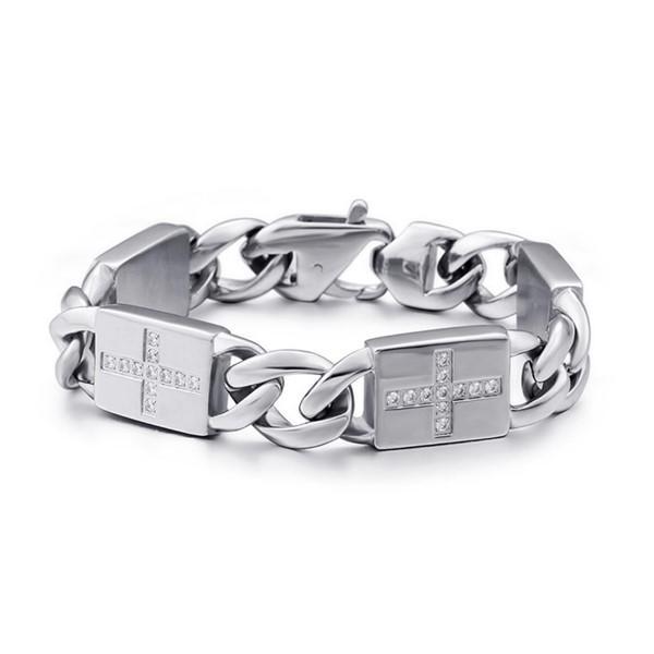 Punk Surgical Stainless Steel Chain Gemstone Bracelet for Men