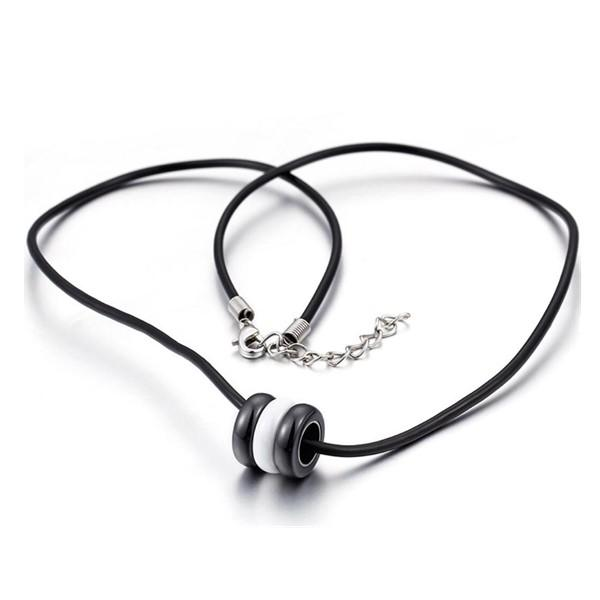 Surgical Stainless Steel and Black White Ceramic Bead Charm Necklace for Men Women