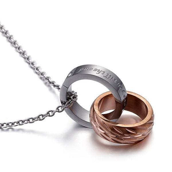 Surgical Stainless Steel Wheel Ring Band Necklace Set for Couple Girlfriend Boyfriend