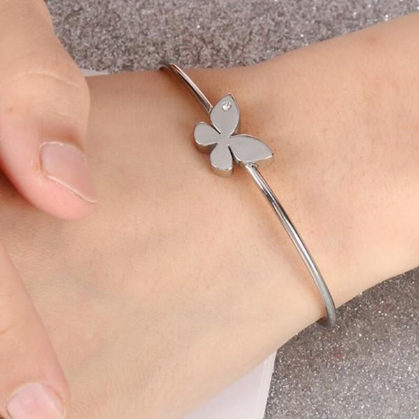 Women Mother Christmas Gift Stainless Steel Butterfly Bracelets Bangle