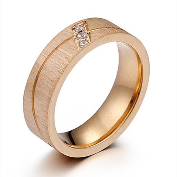 Men's Women Wedding Bands 18K Gold Plating Stainless Steel