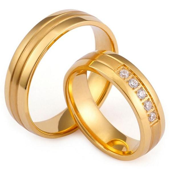 Men and Women Wedding Bands CNC Inlay Cubic Zirconia Surgical Stainless Steel Rings