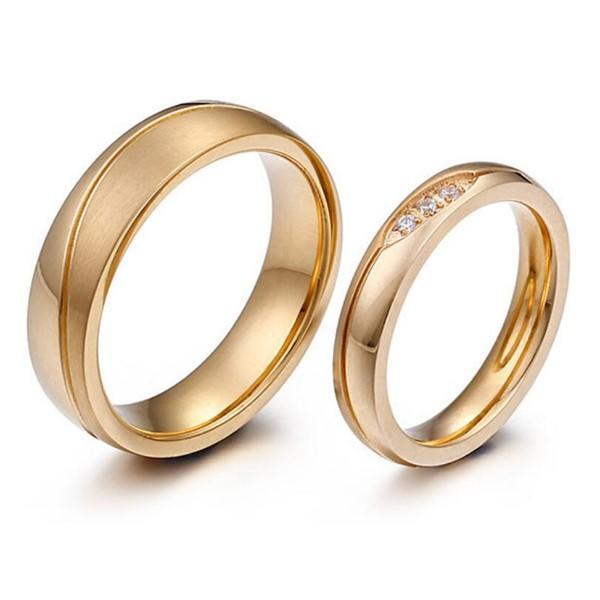Evil Eye Men and Women 316L Stainless Steel 18K Gold Plated Wedding Rings