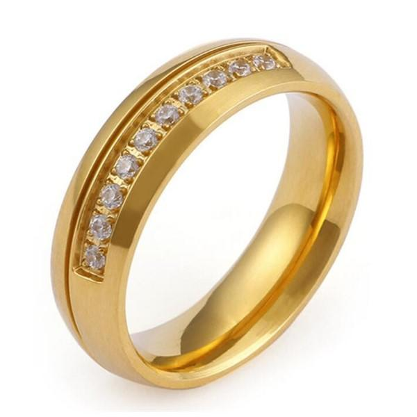 Korean Style Gemstone Diamond 316L Surgical Stainless Steel Wedding Band