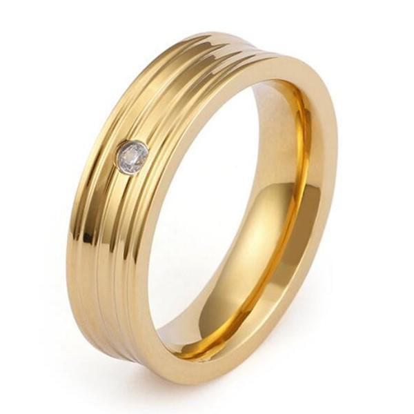 Wholesale Stainless Steel Wedding Bands 18k Gold Plating Color