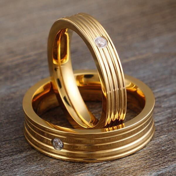 JaneE square edges simple stainless steel rings top quality for weddings