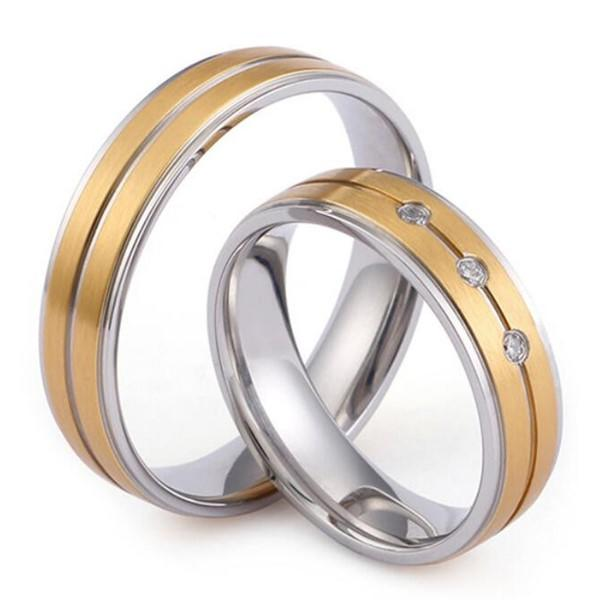 Simple Style Wedding Band Cubic Zircon Inlay for Men and Women Wholesale