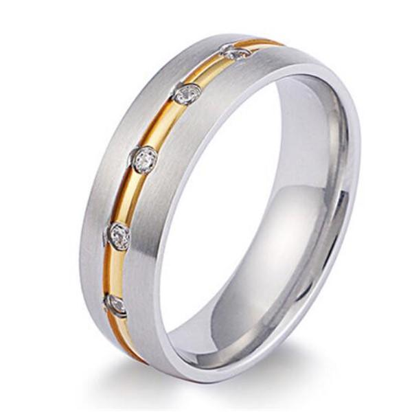 Domed Matte Stainless Steel Channel AAA Cubic Zirconia Wedding Ring