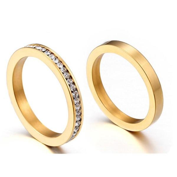 Cubic Zircona Stainless Steel Stacking Rings Set for Women