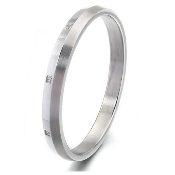 Simple Stainless Steel Cubic Zircon Bangle for Women