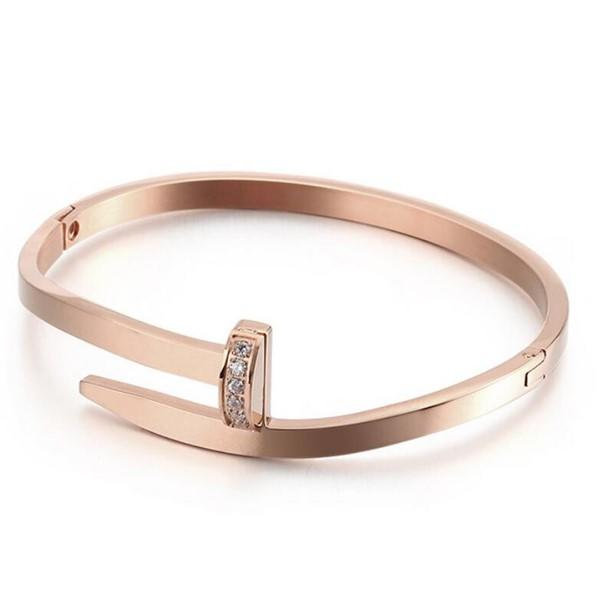 Stainless Steel Cubic Zirconia Nail Rivet Bangle for Women