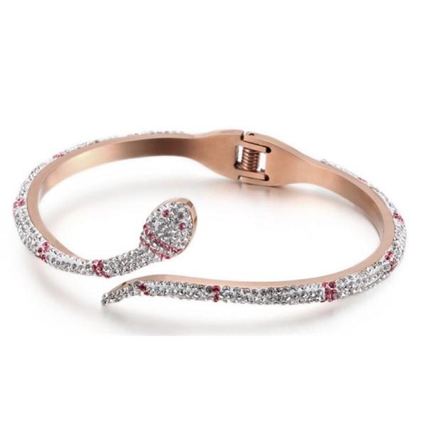 Mud Cubic Zircon Stainless Steel Snake Bangle