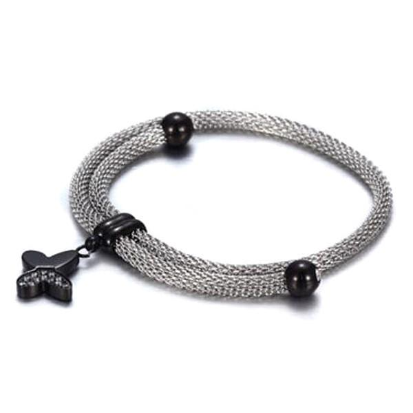 Beads Charms Bracelet Stainless Steel Wire Web Chain Bangle for Women