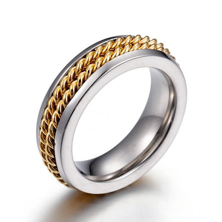 Stainless Steel Chain Inlay Ring for Biker Men