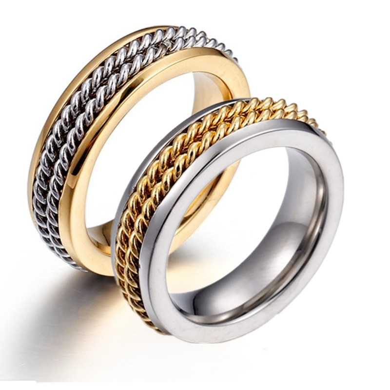 JaneE gunmetal simple stainless steel rings fashion design for decoration-1