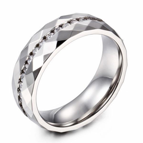 Diamond Zircon Stainless Steel Wedding Band for Women
