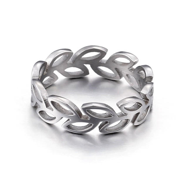 Women and Men Peace Leaf Ring 316L Stainless Steel Geometric Rings